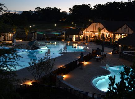 Custom Outdoor Pool with Night Lighting in Chattanooga