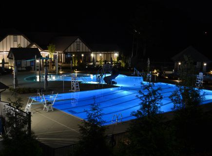 Custom Pool with Night Lighting in Chattanooga