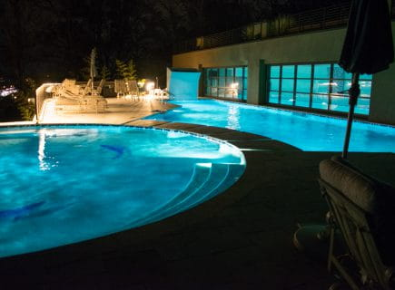 Luxury Outdoor Pool with Night Lighting