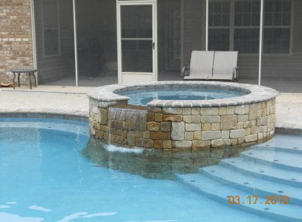 Custom Spa with Water Feature