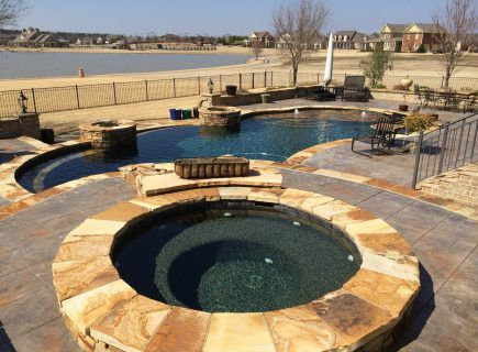 Custom Outdoor Pool with Spa and Bubbler Fountains