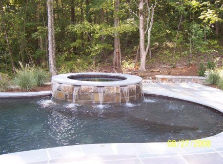 Custom Pool with Spa and Water Features