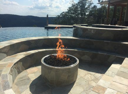 Fire Pit with Custom Pool and Spa