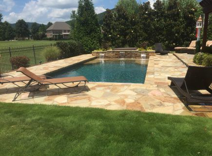 Custom Geometric Pool with Water Features