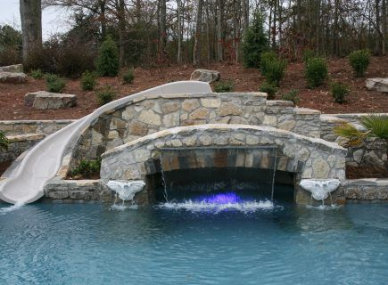 Luxury Pool Waterfall Water Feature with Slide