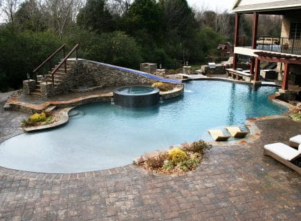Luxury Outdoor Custom Pool with Slide