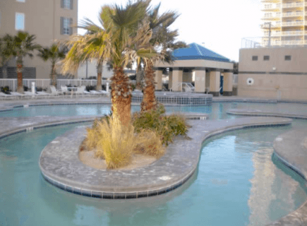 Custom Water Park Pool with Palm Trees